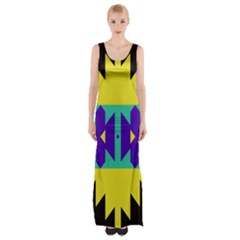 Tribal Design Maxi Thigh Split Dress