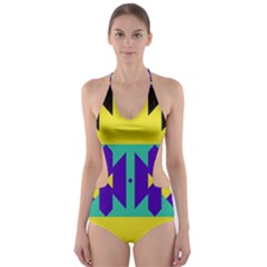 Tribal design Cut-Out One Piece Swimsuit