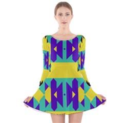 Tribal design Long Sleeve Velvet Skater Dress