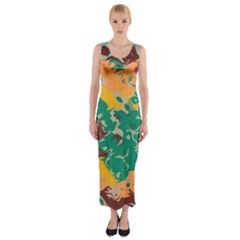 Texture in retro colors Fitted Maxi Dress