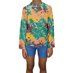 Texture in retro colors  Kid s Long Sleeve Swimwear