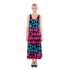 Rhombus and trianglesFull Print Maxi Dress