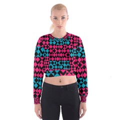 Rhombus and triangles  Women s Cropped Sweatshirt