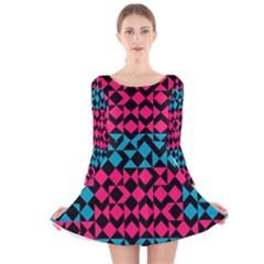 Rhombus and trianglesLong Sleeve Velvet Skater Dress