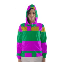 Rectangles and other shapes Hooded Wind Breaker (Women)