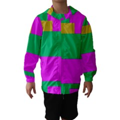 Rectangles and other shapes Hooded Wind Breaker (Kids)