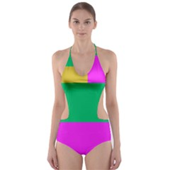 Rectangles And Other Shapes Cut Out One Piece Swimsuit