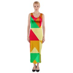 Retro colors shapes Fitted Maxi Dress