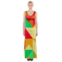 Retro Colors Shapes Maxi Thigh Split Dress