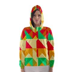 Retro colors shapes Hooded Wind Breaker (Women)