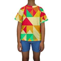 Retro colors shapes  Kid s Short Sleeve Swimwear