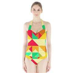 Retro colors shapes Women s Halter One Piece Swimsuit