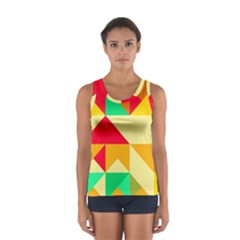 Retro Colors Shapes Women s Sport Tank Top