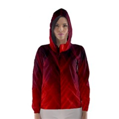 Red Abstract Hooded Wind Breaker (women)