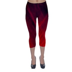Red Abstract Capri Winter Leggings