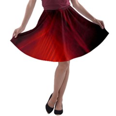 Red Abstract A Line Skater Skirt