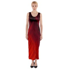 Red Abstract Fitted Maxi Dress