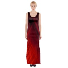 Red Abstract Maxi Thigh Split Dress