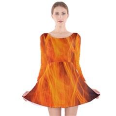 Orange Wonder 2 Long Sleeve Velvet Skater Dress
