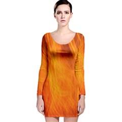 Orange Wonder 2 Long Sleeve Velvet Bodycon Dress