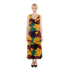 Camo texture Full Print Maxi Dress