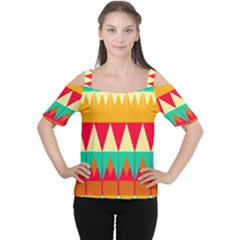 Triangles and other retro colors shapes Women s Cutout Shoulder Tee