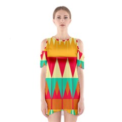 Triangles and other retro colors shapes Women s Cutout Shoulder Dress