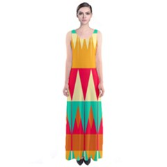 Triangles and other retro colors shapes Full Print Maxi Dress
