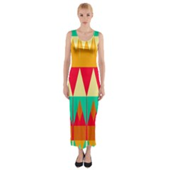 Triangles and other retro colors shapes Fitted Maxi Dress