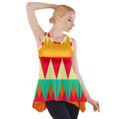Triangles and other retro colors shapes Side Drop Tank Tunic
