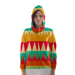 Triangles and other retro colors shapes Hooded Wind Breaker (Women)