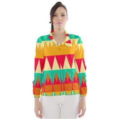 Triangles and other retro colors shapes Wind Breaker (Women)