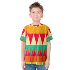 Triangles and other retro colors shapes Kid s Cotton Tee