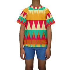 Triangles and other retro colors shapes  Kid s Short Sleeve Swimwear
