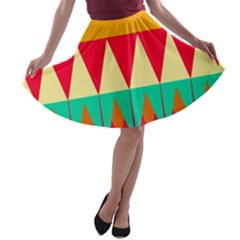 Triangles and other retro colors shapes A-line Skater Skirt