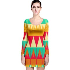 Triangles and other retro colors shapes Long Sleeve Velvet Bodycon Dress