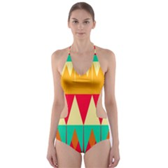 Triangles And Other Retro Colors Shapes Cut Out One Piece Swimsuit