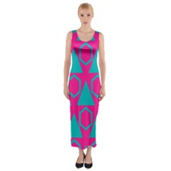 Triangles And Honeycombs Pattern Fitted Maxi Dress