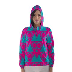 Triangles and honeycombs pattern Hooded Wind Breaker (Women)