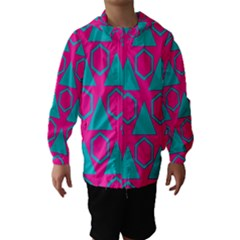 Triangles and honeycombs pattern Hooded Wind Breaker (Kids)