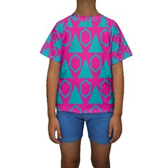 Triangles and honeycombs pattern  Kid s Short Sleeve Swimwear