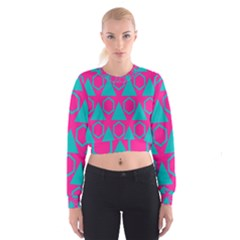 Triangles and honeycombs pattern   Women s Cropped Sweatshirt