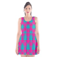 Triangles And Honeycombs Pattern Scoop Neck Skater Dress