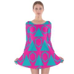 Triangles and honeycombs pattern Long Sleeve Velvet Skater Dress