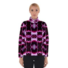 White Burgundy Flower Abstract Winter Jacket