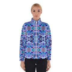 Elegant Turquoise Blue Flower Pattern Winter Jacket