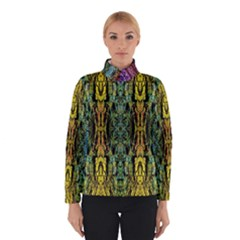 Abstract, Yellow Green, Purple, Tree Trunk Winter Jacket