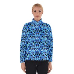 Turquoise Blue Abstract Flower Pattern Winter Jacket