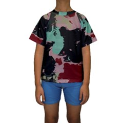 Retro colors texture  Kid s Short Sleeve Swimwear