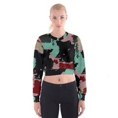 Retro colors texture   Women s Cropped Sweatshirt
